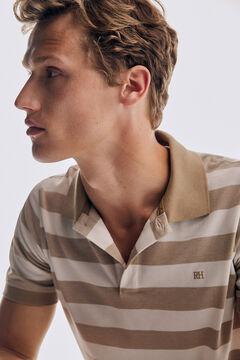 Pedro del Hierro Camisa pólo de manga curta às riscas Beige