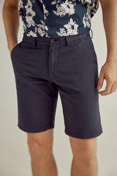 Pedro del Hierro Plain linen side taping Bermuda shorts Blue