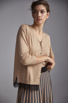 Pedro del Hierro V-neck cardigan with lace Beige