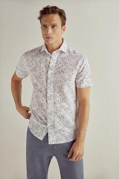 Pedro del Hierro Short-sleeved printed linen/cotton shirt Ivory