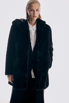 Pedro del Hierro Hooded Mouton coat Black