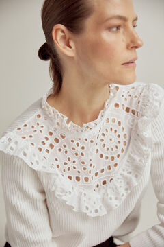 Pedro del Hierro Combined jumper with broderie anglaise  Beige