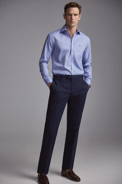 Pedro del Hierro Textured slim fit dress shirt Blue