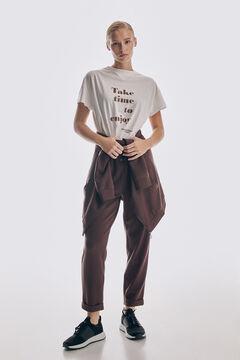 Pedro del Hierro Oversize organic cotton T-shirt Beige