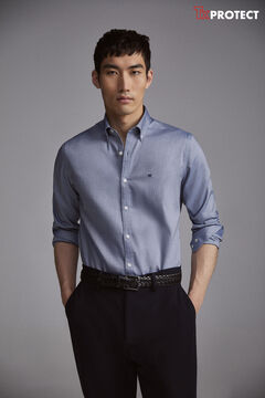 Pedro del Hierro Camisa lisa TX Protect slim fit Blue