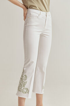 Pedro del Hierro Coloured embroidered flare fit trousers Beige