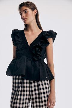 Pedro del Hierro Cotton top with flounces Black