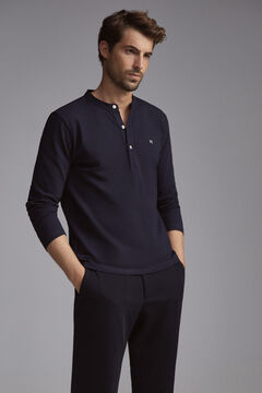 Pedro del Hierro Long-sleeved polo shirt Blue