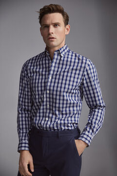 Pedro del Hierro Checked tech-non iron stain resistant shirt Blue