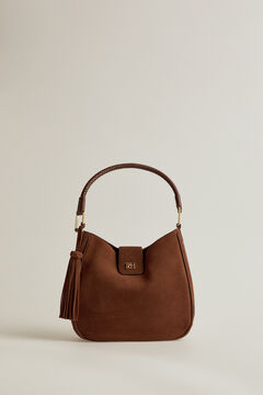 Pedro del Hierro Hobo leather suede bag Brown