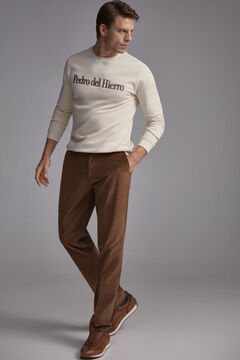 Pedro del Hierro Regular fit premium flex corduroy chinos Brown