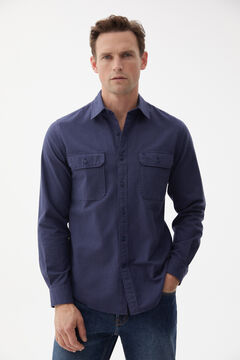 Pedro del Hierro Organic cotton two-pocket Oxford shirt Blue