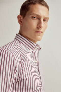 Pedro del Hierro Striped tech-non iron stain resistant shirt Red