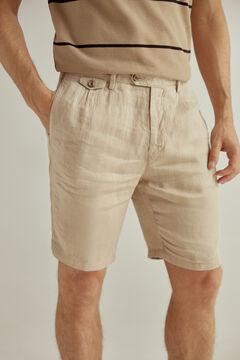 Pedro del Hierro Linen Bermuda shorts with front darts Beige