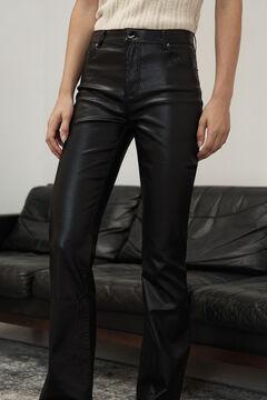 Pedro del Hierro Shiny rubber-effect flared jeans Black