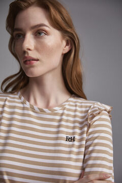 Pedro del Hierro Long-sleeved striped logo t-shirt Beige