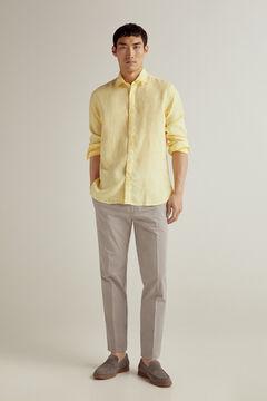 Pedro del Hierro 100% linen plain shirt Yellow