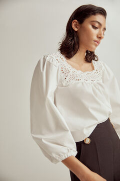 Pedro del Hierro Blouse with embroidered lace trim White