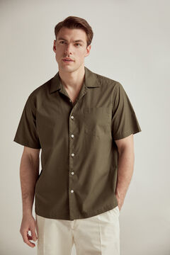 Pedro del Hierro Plain short-sleeved camp collar shirt  Grey