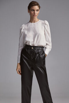 Pedro del Hierro Leather-effect slouchy trousers Black