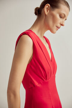 Pedro del Hierro V-neck dress with shoulder pads Red