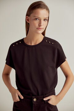 Pedro del Hierro Wide T-shirt with side opening Black