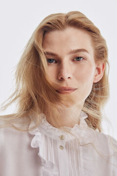 Pedro del Hierro Crepe ruffles blouse Beige
