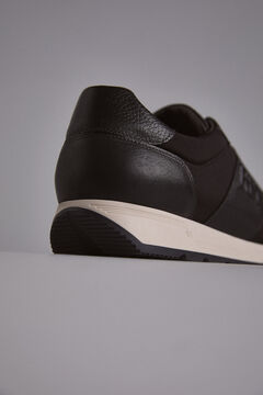 Pedro del Hierro Leather and nylon icon sneaker Black