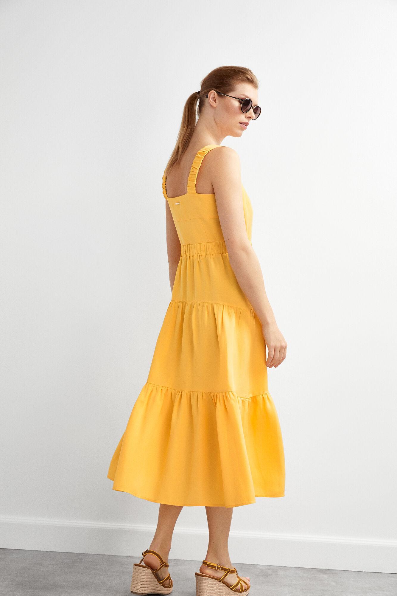 e7cf6b6523 Pedro del Hierro Vestido midi folho franzido Amarelo