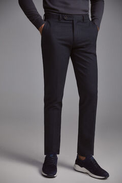 Pedro del Hierro Regular fit micro-print herringbone chinos Blue