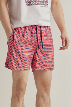 Pedro del Hierro Geometric print swimming shorts with branded bag Red