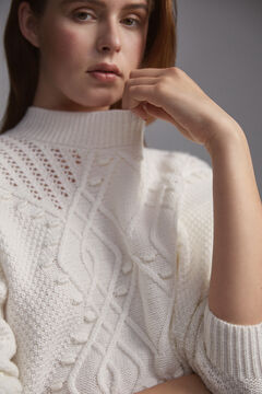 Pedro del Hierro Patterned jumper with bobbles and openwork Ecru