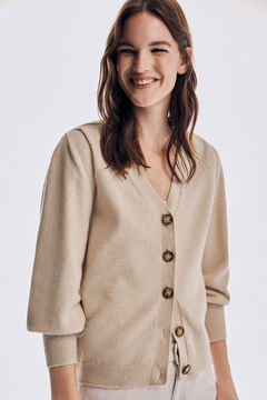Pedro del Hierro Cardigan with shoulder pads and floral embroidery Brown
