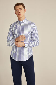 Pedro del Hierro Striped Tech Non-Iron cotton shirt Blue