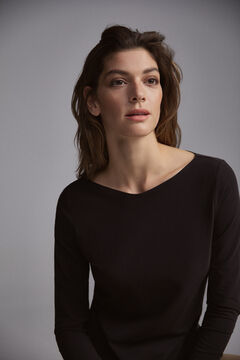 Pedro del Hierro Long-sleeved basic t-shirt Black