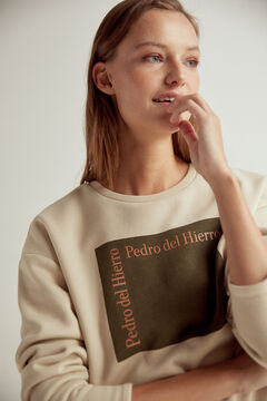 Pedro del Hierro Organic cotton logo sweatshirt Brown