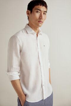 Pedro del Hierro 100% linen plain shirt White