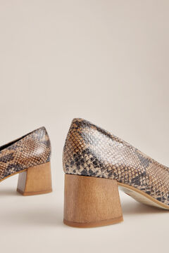 Pedro del Hierro Snakeskin heeled shoe Brown