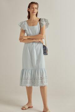 Pedro del Hierro Embroidered linen dress Blue
