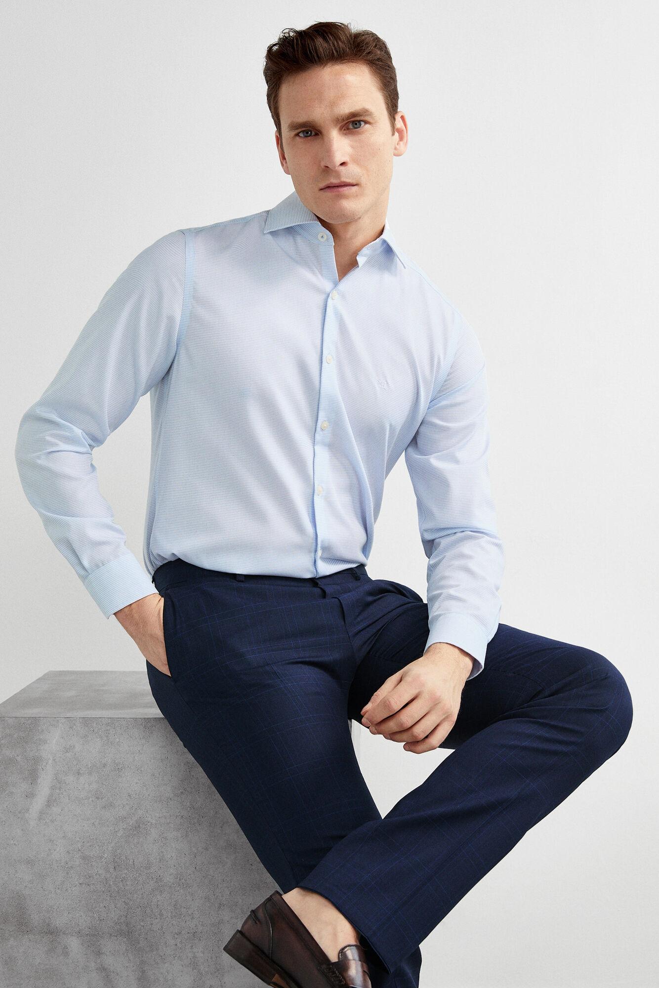 bb8e27da3 Pedro del Hierro Camisa vestir rayas non-iron slim Azul