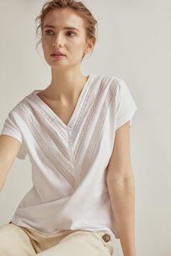 Pedro del Hierro Short-sleeved V-neck crochet trim T-shirt White