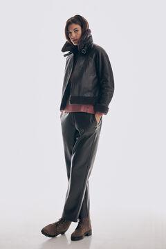 Pedro del Hierro Leather aviator jacket Brown