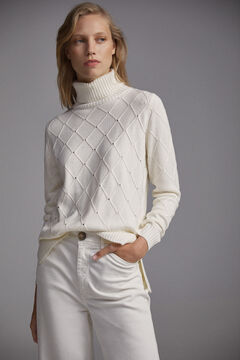 Pedro del Hierro Diamonds and crystals turtleneck jumper Beige