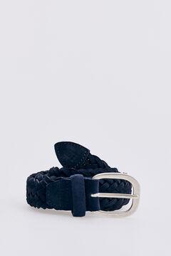 Pedro del Hierro Woven leather belt Blue