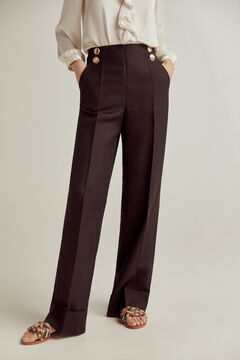Pedro del Hierro Wide-leg trousers with buttons Black