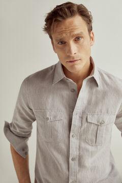 Pedro del Hierro Two-pocket linen shirt Grey