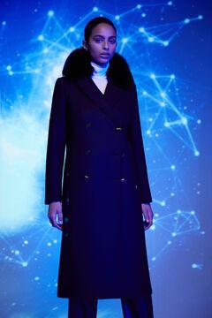 Pedro del Hierro Fox Collar Coat Black