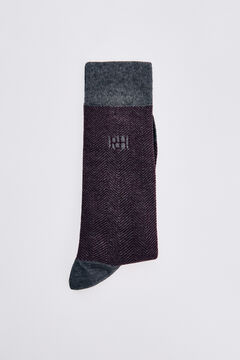 Pedro del Hierro Herringbone logo socks Brown
