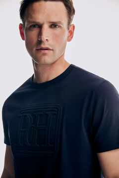 Pedro del Hierro Camiseta logo manga corta Blue