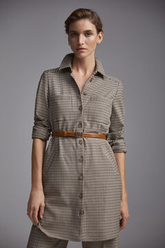 Pedro del Hierro Short dress in checked fabric Brown